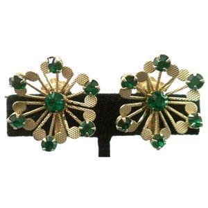 vintage green rhinestone gold flower clip earrings